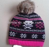 BSCI Jacquardl knitting Beanie with Fake fur PomPom