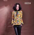 venta caliente señora blusa de gasa con la impresión completa