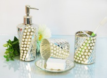 Hot Sales Pearl and glass bathroom accessories sets/4PC Bathroom Set/bath set