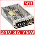 Ce y rohs aprobados de metal caso de ac a dc fuente de alimentación conmutada s-75-24 de suministro de energía para la tv de plasma