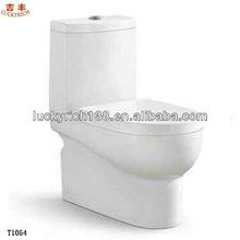 T1054 hot sale bathroom product ceramic one piece toilet push button toilet flush