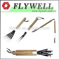 3 Piece stainless steel spatula set / wood handle