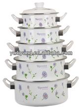 Elegant Flower Printable Enamel Cookware Pot Set 5 Pcs Enamel Casserole Set Non-Stick Soup Sauce Pot With White Bakelite Handle