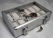 Polish finish aluminum storage case watch box for 12 watches