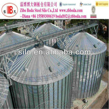 Roof grain galvanized scraper / chain conveyor on steel silo with catwalk for supporting
