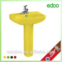 Colour 2 pcs square pedestal basin Sanitaryware floor mounted wash sink