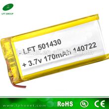 lithium polymer 3.7v battery 501430 170mah li ion polymer 3.7v battery for Mp3 GPS PSP mobile bluetooth
