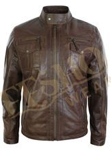 Lambskin genuine leather jacket for men genuine fashion leather jacket 2014
