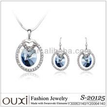 OUXI korean style 925 silver crystal fashion jewelry set y20064