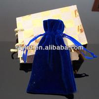 Blue Velvet Drawstring Pouch Bag