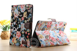 2014 Spring Hot Sell Flower Case For Ipad Mini 2 with Book Wallet Style