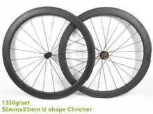 Superlight 50x23mm full carbone roue de bicyclette, roues à pneus haute température durable surface de freinage