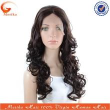 Hot selling fashionable wavy brazilian human hair lace front wig, abundant stock medium density lace wig
