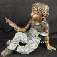 Bronze Lovely Girl Reading Book Statue For Garden Decoration