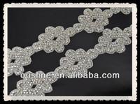 Rhinestone trim applique, rhinestone Bridal Applique, bridal flower Sash Applique trim