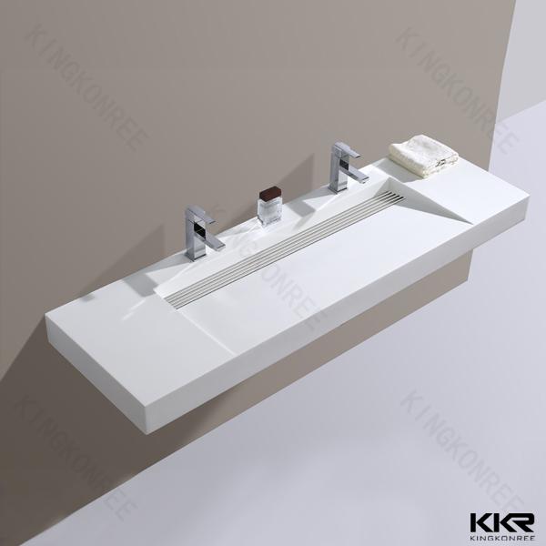 Kingkonree salle de bains bassin en pierre artificielle carr grand lavabo man made pierre - Wastafel originele ...