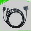 USB charging data sync audio cable with 3.5mm AUX port for 30pin mobile device i4/4s