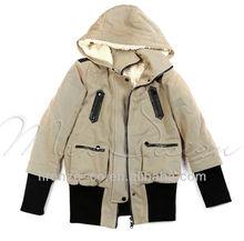 Special Design Warm short Lambswool Lining Ladies Coat with Fur Hat