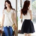 2014 coreano moda casual blusa clássica feminina manga curta camisa laço chiffon blusa tops 20209