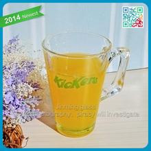 Clear orange juice glass mug with handle drinking juice glass mugs