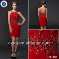 2014 classico un- linea scoop bretelle rosso sexy abito corto ballo di fine anno