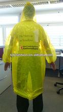Yellow raincoat, Back Logo custom rain coat for Sale