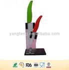 Color handle forever sharp blade kitchen knife set ceramic with holder and block