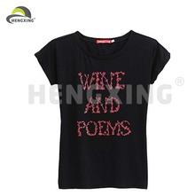 Black Short Sleeve Digital Printing Design Your Own T Shirt For Women