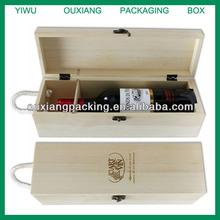cheap design one bottle pine wood wine box