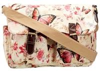 women girl maple butterfly oil cloth print vintage long strap canvas waterproof messenger bag wholesale