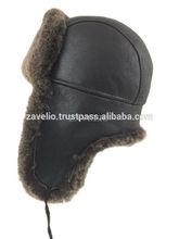 Genuine Shearling Sheepskin Russian Ushanka Aviator Trapper Fur Hat - Brown