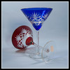 hand engraved antique whiskey glass colored overlaid glass