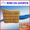 Indoor canada cedar wooden bathtub with seat pillow and steam bath