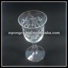 Wholesale transparent hand pressed ribbon leaves flower pitcher clear whisky glass short stem mug champagne flutes