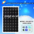 de alta eficiencia de sistema de energía solar para los hogares mono módulos solares vatios 250