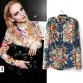 Atacado de moda europeu estilo vintage floral impressão de manga comprida camisas e blusas para mulheres primavera/outono 2014 venda quente tops