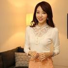 Wholesale Plus Size Black/White/Orange 2014 Autumn Fashion Elegant Beading Lace Long Sleeve Cotton Blouse Shirts Fitness Women