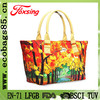 colorful tree printed canvas tote bag with leather handles