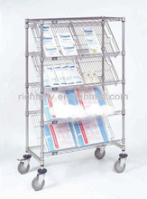 Best Price 4-Tier metal book rack, rotating display stand with 4 wheels