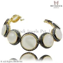 Spianare diamante braccialetto pietra preziosa pietra di luna, gemma braccialetto di diamanti, fornitore braccialetto bracciale in oro 14k