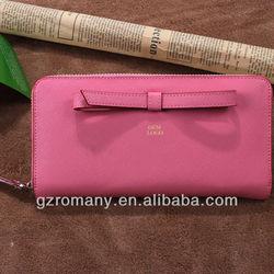 cute grils wallets,saffiano leather women wallets with bow,zipper ladies wallets