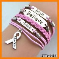 Free Shipping Breast Cancer Hope Belief Faith Charm Bracelet ZTTG-0152