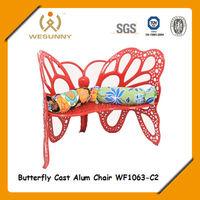 WF1063-C2 garden 2-person butterfly shape dining cast aluminum chair