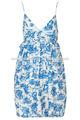 100% toile de viscosa imprimir babydoll de tiras sundress verano para las mujeres