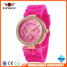 Geneva Design Silicone Watch With Pink Bands Japan Movement Water Resistant For Lady