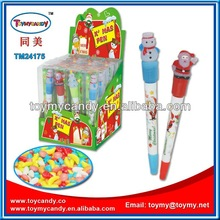 2014 new popular best selling toymy toy candy Christmas pen light pen with candy santa and snowman