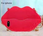 New arrival soft TPU sexy lip cell phone cover case for iphone 4g 5g for girls with packing with chain