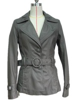 fashion lady leather Jacket with belt