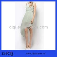 2014 Fashion Design Elegant Blank Hign Low Hem Casual Dress