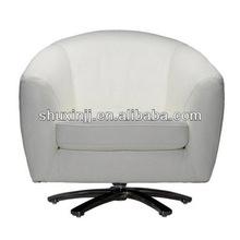 white faux leather swiveled sofa
